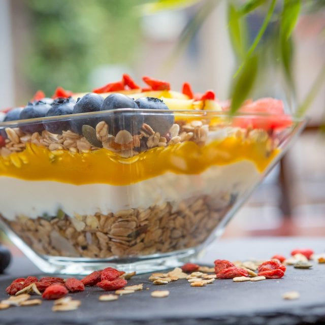 Granola bowl served in the Vitality Breakfast